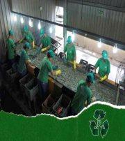 Fábrica de reciclagem de vidro